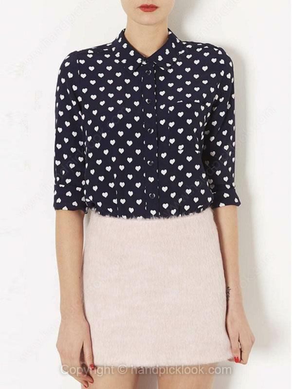 blouse printed blouse heart print top heart print blouse navy blue blouse long sleeve blouse summer blouse