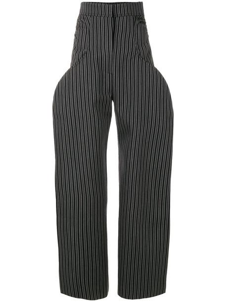 Jacquemus high women cotton wool grey pants