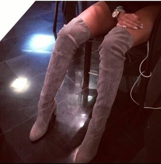 shoes boots suede boots high heels over knee high boots taupe fashion fashiobale snob instagramfashion instagram black boots
