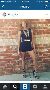 romper,black dress,summer,summer outfits,gold,clubwear,waist belt,jewels,jewelry,mini dress,black sandals,lace up