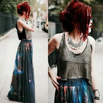 skirt galaxy print maxi skirt