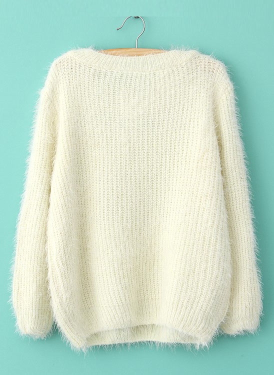 Beige Long Sleeve Shaggy Mohair Loose Sweater - Sheinside.com
