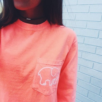 shirt sweater pink coral éléphant sweat elephant sweater