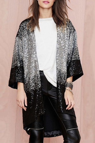 cardigan black silver sequins winter outfits glamour new year's eve coat
