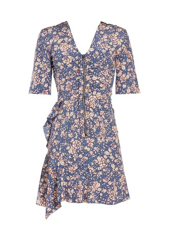 dress zip floral print blue