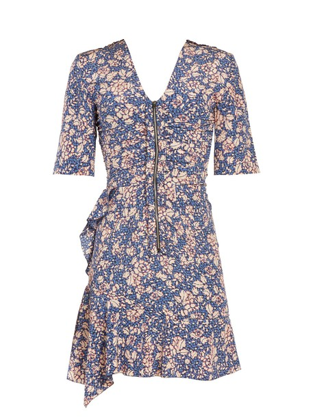 Isabel Marant dress zip floral print blue
