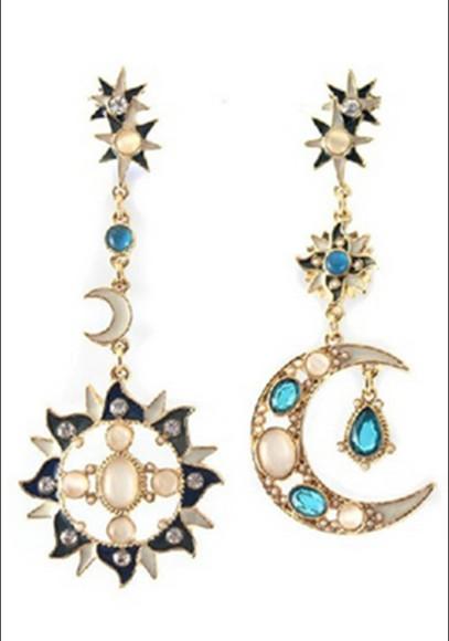 jewels moon stars jewelry earrings indie hipster