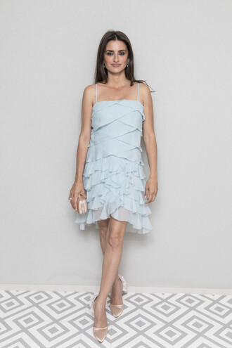 dress ruffle ruffle dress penelope cruz mini dress pastel cannes pumps