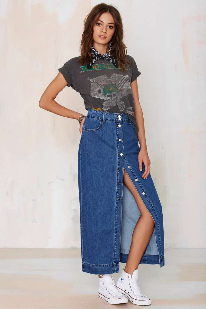 cae175e104 Glamorous Of One Mind Denim Maxi Skirt