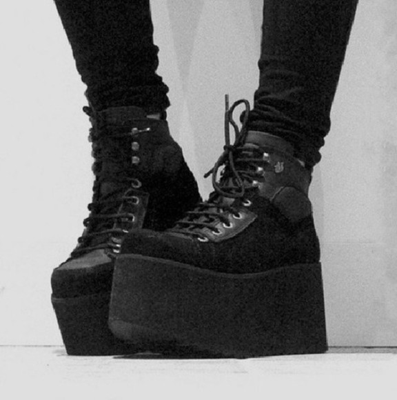 shoes platforms creepers platform shoes pastel goth tumblr flatforms flatform shoes chunky shoes goth shoes