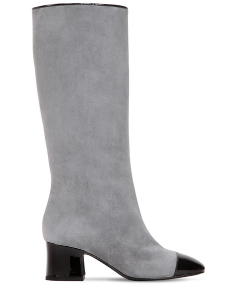 AAND 60mm Suede & Patent Leather Tall Boots in black / grey