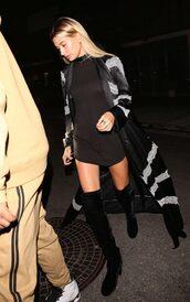 coat,black dress,mini dress,hailey baldwin,boots,over the knee boots,shoes