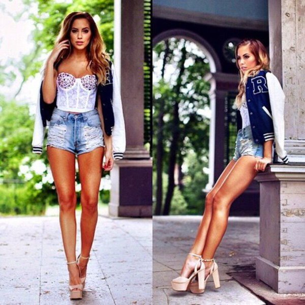 top sexy hot summer denim white crop tops bustier letterman jacket shorts jacket shoes dress navy blue jacket dark blue jacket baseball jacket