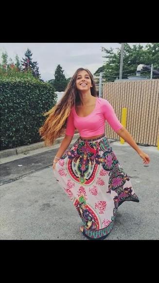 skirt colorful fashion maxi skirt