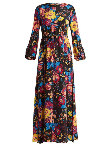 Diane Von Furstenberg dress maxi dress maxi floral print silk black