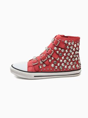 Red high top sneakers with rivets