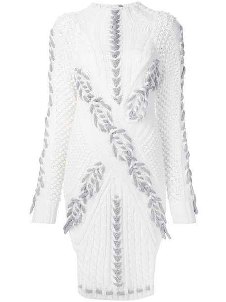 Prabal Gurung jumper knit women braided white wool sweater