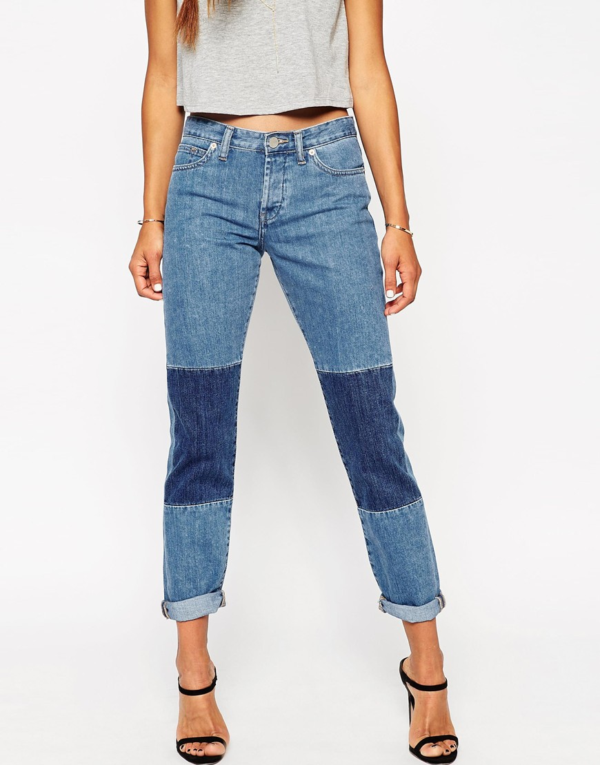 Brady Low Rise Slim Boyfriend Jeans in Patty Mid Wash with Patches ...