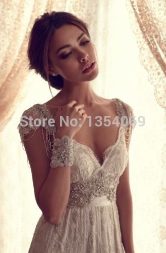 2014 new a line sexy beading v neck backless court train white/ivory floor length wedding dress bridal dress custom made rh254