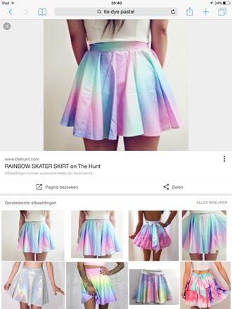 skirt pastel pink purple tumblr tumblr outfit rainbow dress skater skirt mini skirt tie dye