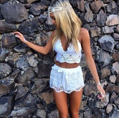 tank top,white,top,knitwear,shorts,jewels,pants,beach party,summer shorts,lace,lace shorts,cute,summer outfits,crop tops,knitted top,blouse,shirt,lace shirt,beautiful,hip,hippie,headband,boho,gorgeous,clothes,crochet crop top,bralette,tanktop top white,crochet,custom,sew,super cute,white shorts,white crochet shorts,white crop top crochet