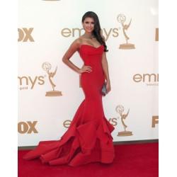 Nina Dobrev Red Strapless Formal Prom Dress The 63rd Annual Emmy Awards Red Carpet