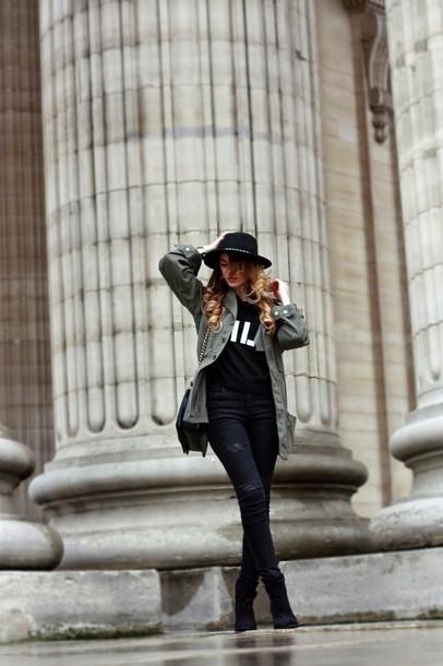 la georgienne blogger khaki parka black sweater pants jacket sweater shoes