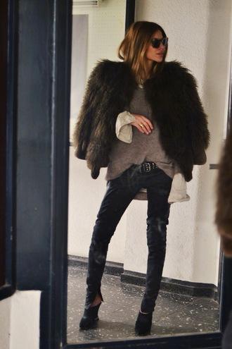 maja wyh blogger faux fur jacket shirt pants shoes