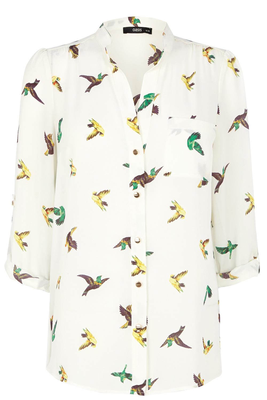 Full Spring Ahead | Multi Parrot Print Shirt | Oasis