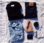 coat,black,bow,warm,fluffy,cute,blouse,hat,jeans,sunglasses,belt