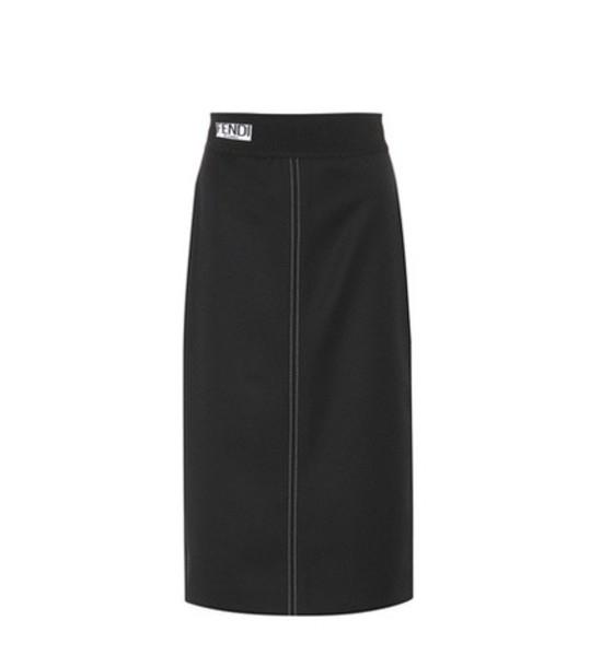 Fendi skirt pencil skirt wool black