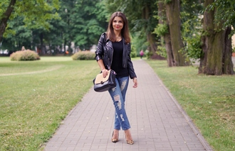 a piece of anna blogger jeans jacket bag blouse shoes