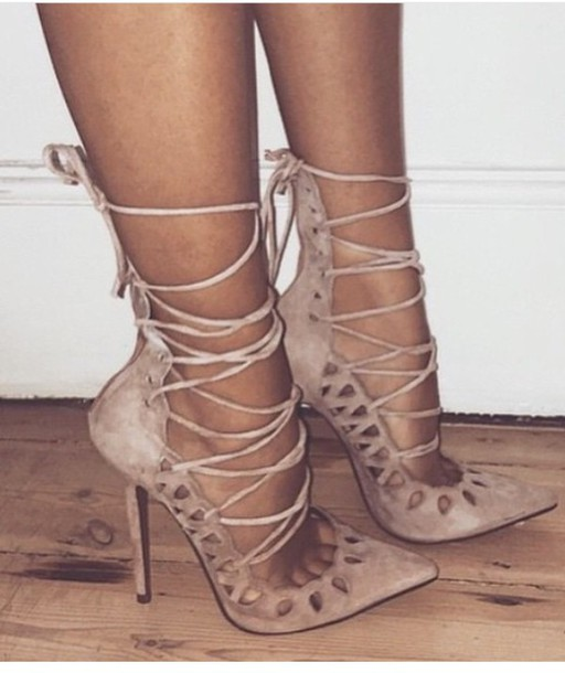 shoes beige nude pumps high heels stilettos strappy brown high heels sexy pumps  pointed toe pumps