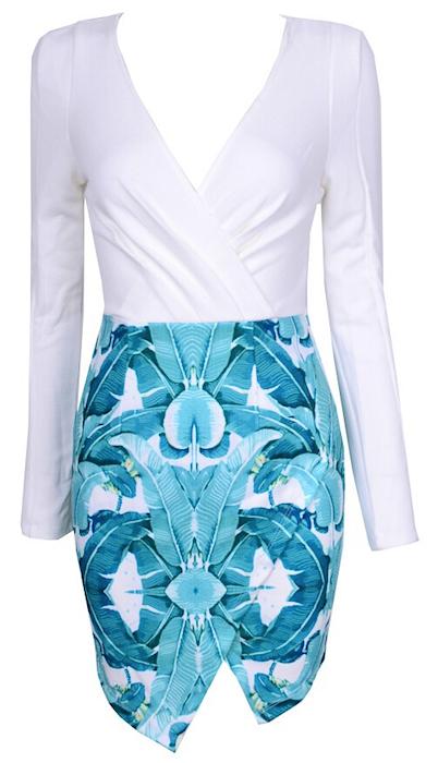 Chic Molly Two-Tone Color Block Asymmetric Floral Print V-Neck Dress