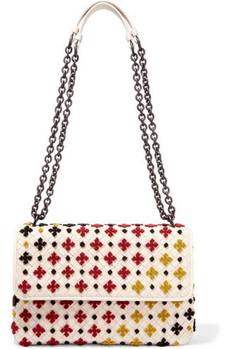 embroidered bag shoulder bag leather