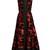 Deep V-neck flocked and jacquard dress
