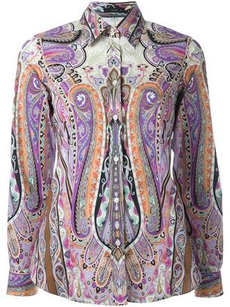 shirt women spandex cotton print purple pink top
