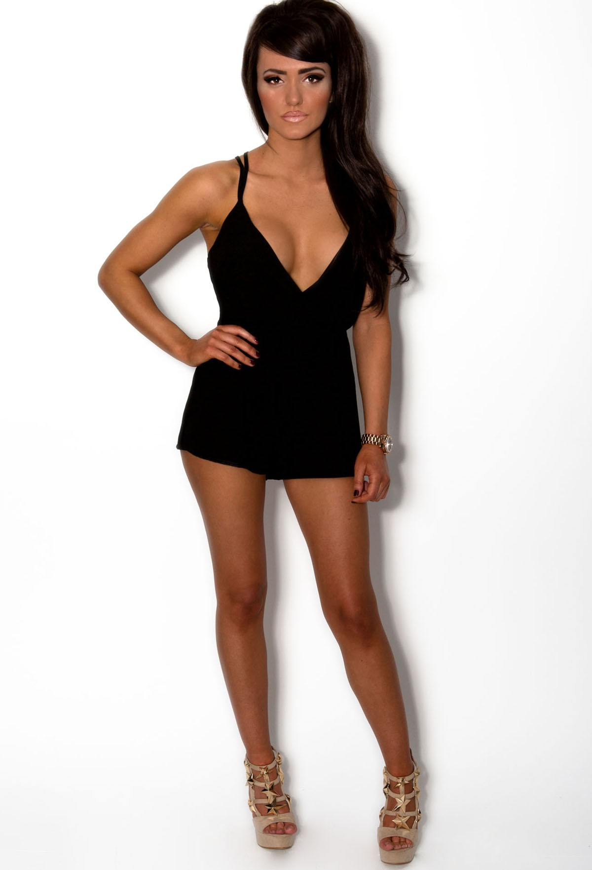 Jolie Black Wrap Over Criss Cross Playsuit | Pink Boutique