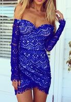 Grecian blue ~ bright blue lace off the shoulder dress