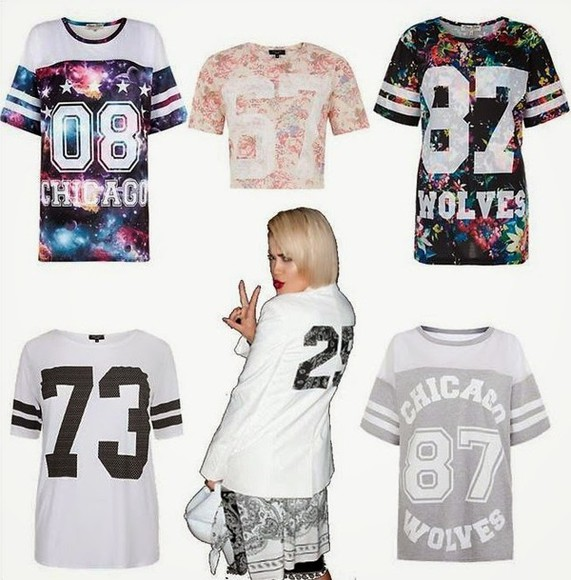 floral t-shirt rita ora pants hat galaxy number tee