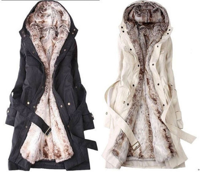 HOT Women Thicken Fleece Faux Fur Warm Winter Coat Hoodies Parka Overcoat Jacket