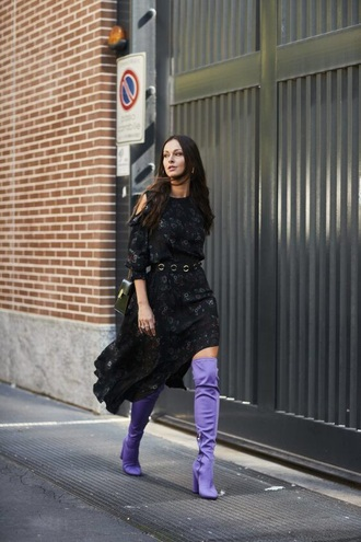 shoes purple purple boots over the knee boots over the knee dress black dress mini dress spring outfits