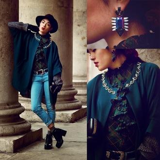 alessandra kamaile blogger blouse jeans jewels bag earrings coat tartan hat