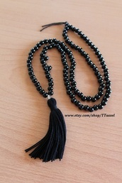 jewels,black tassel black beaded necklace,black tassel necklace,tassel,jewlry,bohemian necklace,gothic necklace,accessories,black,goth,beaded necklace,bracelets,gold chain,chain bracelet,gift ideas,holiday gift,gifts for women
