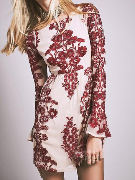 dress mynystyle burgundy bohemian fashion boho chic elegant floral dress coachella pretty bohemian dress