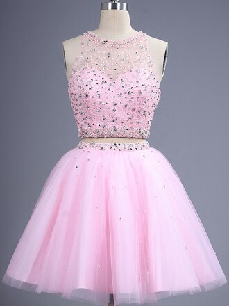 dress prom 2 piece prom dress ocasional dress pink dress stone dress cute cute dress short dress pastel pink two piece dress set amazing gorgeous dress sparkle glitter style dressofgirl girly stylish lovely bridesmaid