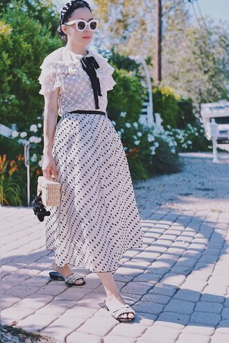 top tumblr lace top white lace top skirt midi skirt shoes slide shoes mules embellished bag mini bag hair accessory