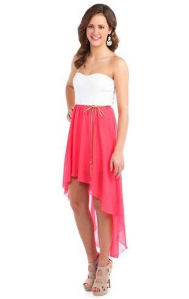 dress dess clothes cute high low pink dress white dress gold chain high low dress bows