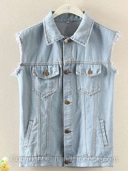 Light blue contrast collar sleeveless pockets jacket