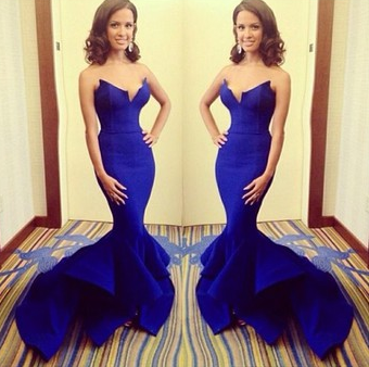 Elegant Strapless Royal Blue Big Fishtail Long Mermaid Prom Dress - Juicy Wardrobe